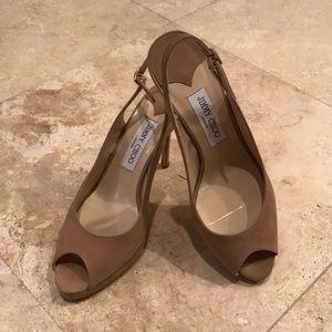 Nude Suede Slingback Peep Toe Medium High Heels